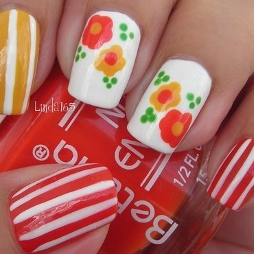 Candy Flowers nail art by Iliana S.