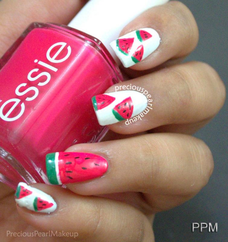 Watermelon Nails nail art by Pearl P.