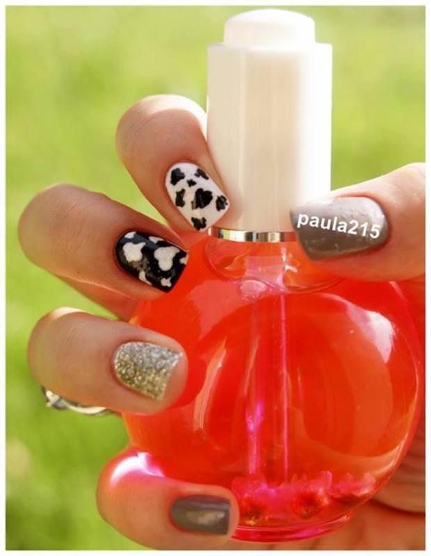 Cow:) nail art by Paula215. NAILS