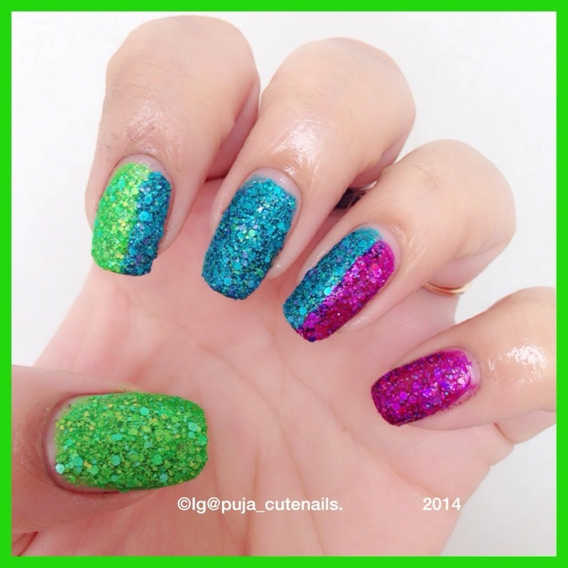 KBShimmer Partners in lime, KBShimmer She twerks out, and KBShimmer Too pop to handle Swatch by Puja Malhotra