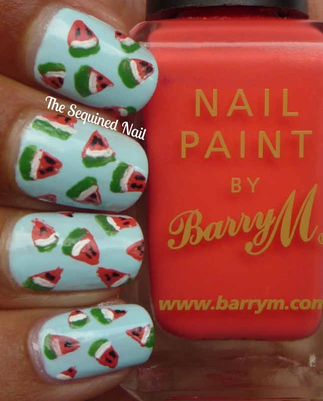 Mini Watermelon Nails nail art by TheSequinedNail
