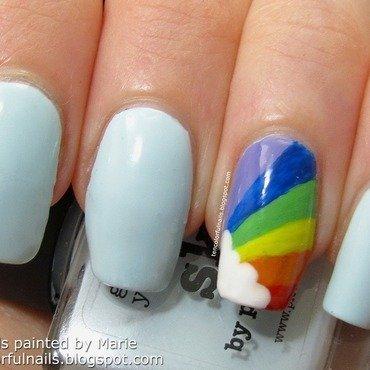 Rainbow with Cloud Nail Art nail art by Marie