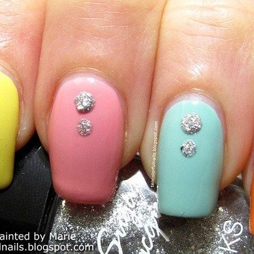 Colorful Skittle Nail Art nail art by Marie