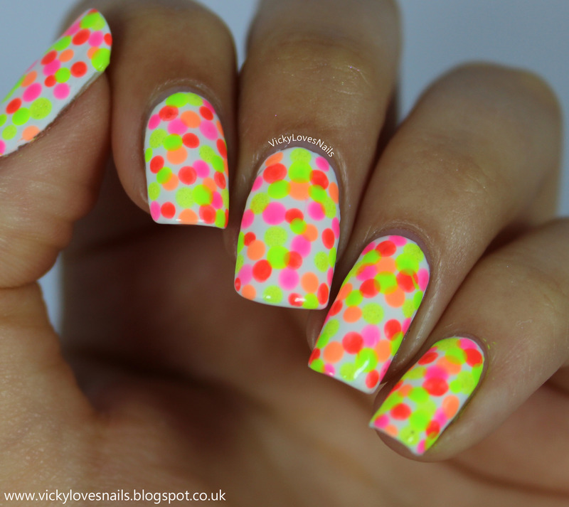 Neon Dotticure nail art by Vicky Standage