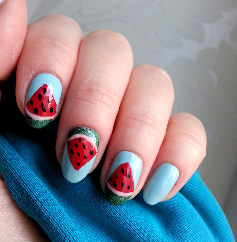 Watermelon Nails nail art by Redhead Nails