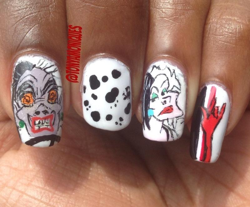 Cruella Deville Disney Villains Nail Art By Tonya Simmons