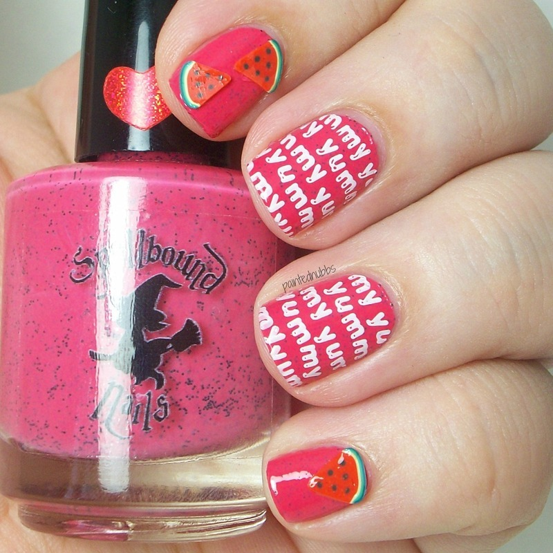 Watermelon Seeds nail art by Ashlee