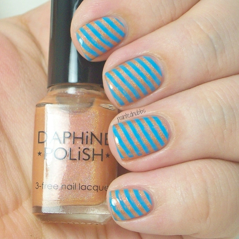 Peach and Blue Stripes nail art by Ashlee
