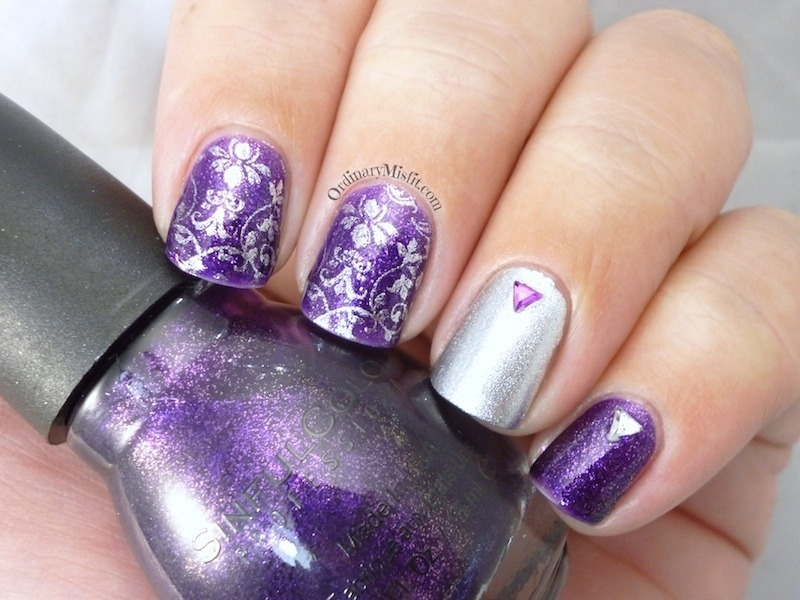purple and silver nail art by michelle nailpolis museum