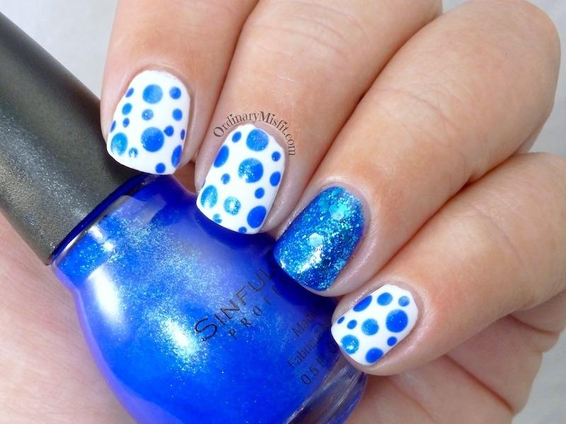 Blue dotticure nail art by Michelle