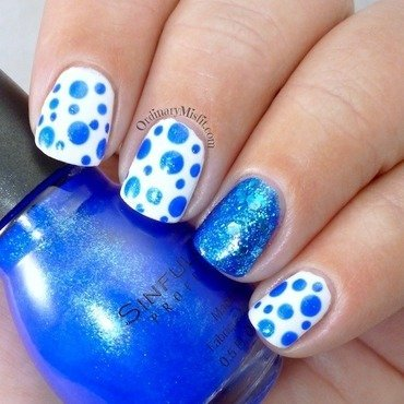 Blue dotticure nail art by Michelle
