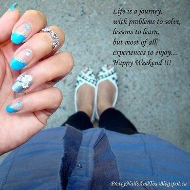 Inspirational Blue Blow nail art by PrettyNailsAndTea
