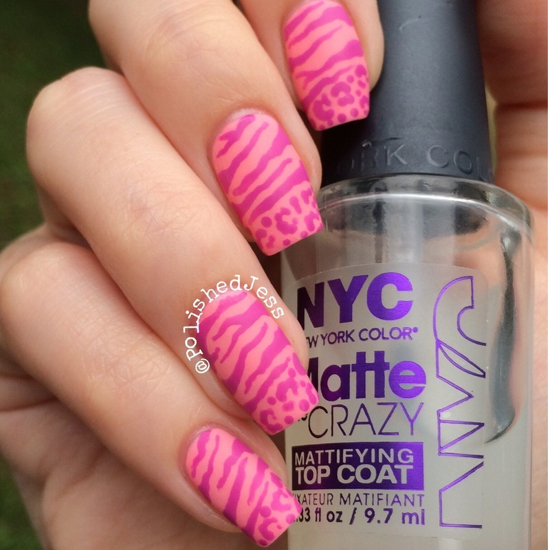 Matte Stripes and Spots nail art by PolishedJess