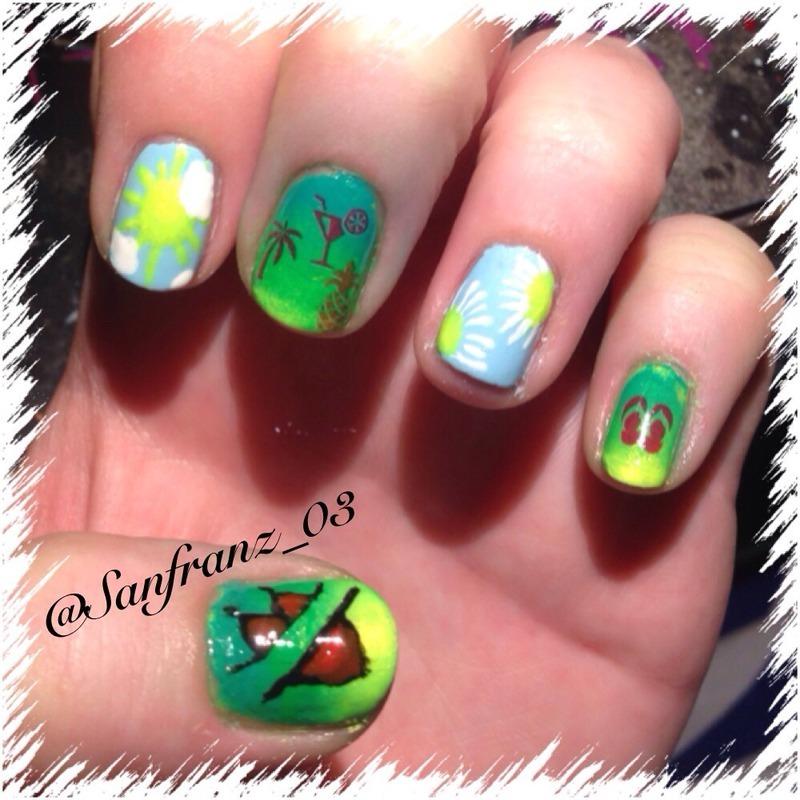 Beach nails! nail art by Sandy