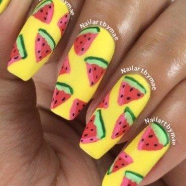 Watermelon mani nail art by Mae Lara