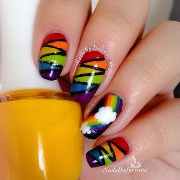 Rainbow Nails nail art by Jonna Dee