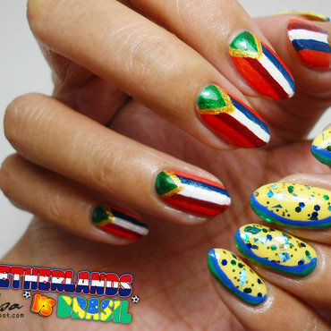 Netherlands vs Brasil Nails nail art by Lacqueerisa