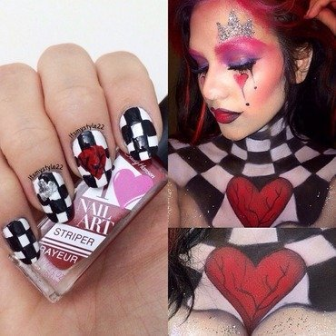 Queen of hearts  nail art by Liz