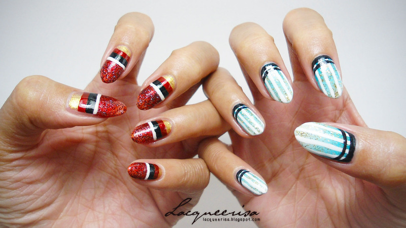 Germany vs Argentina Nails nail art by Lacqueerisa
