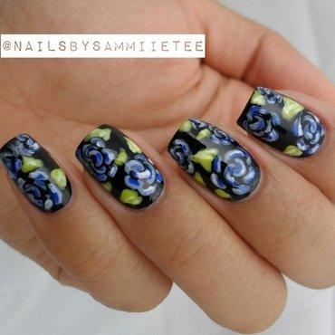 Blue Roses nail art by NailsBySammiieTee