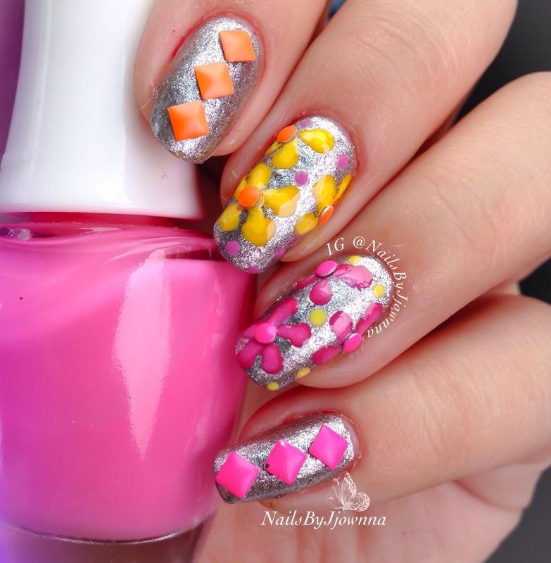 Flowers and Neon Studs nail art by Jonna Dee