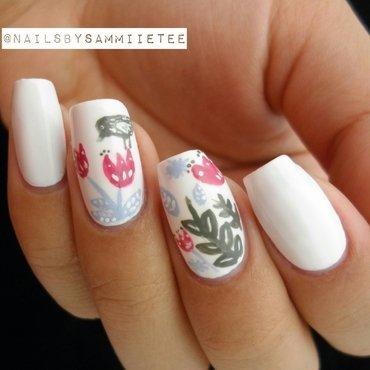 Bird + Flowers nail art by NailsBySammiieTee