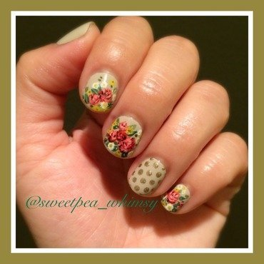 Vintage Roses on Nude nail art by SweetPea_Whimsy
