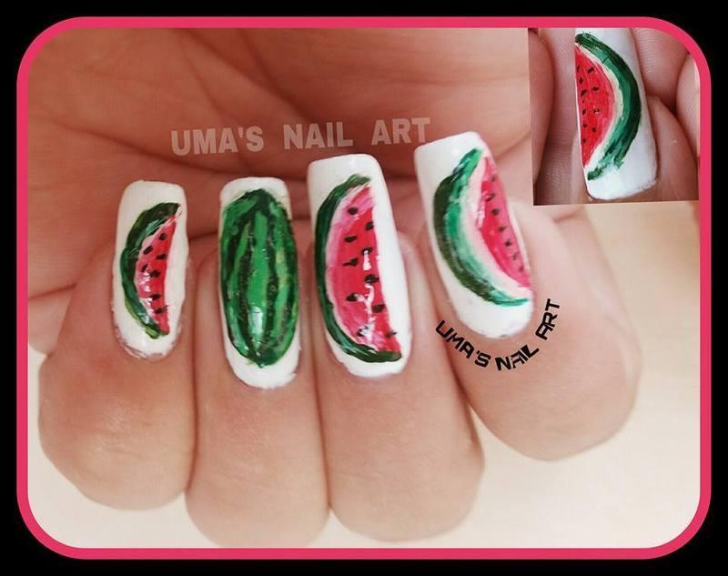 Wtermelon Nails nail art by Uma mathur