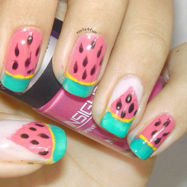 Watermelon Nails! nail art by Nailz4fun