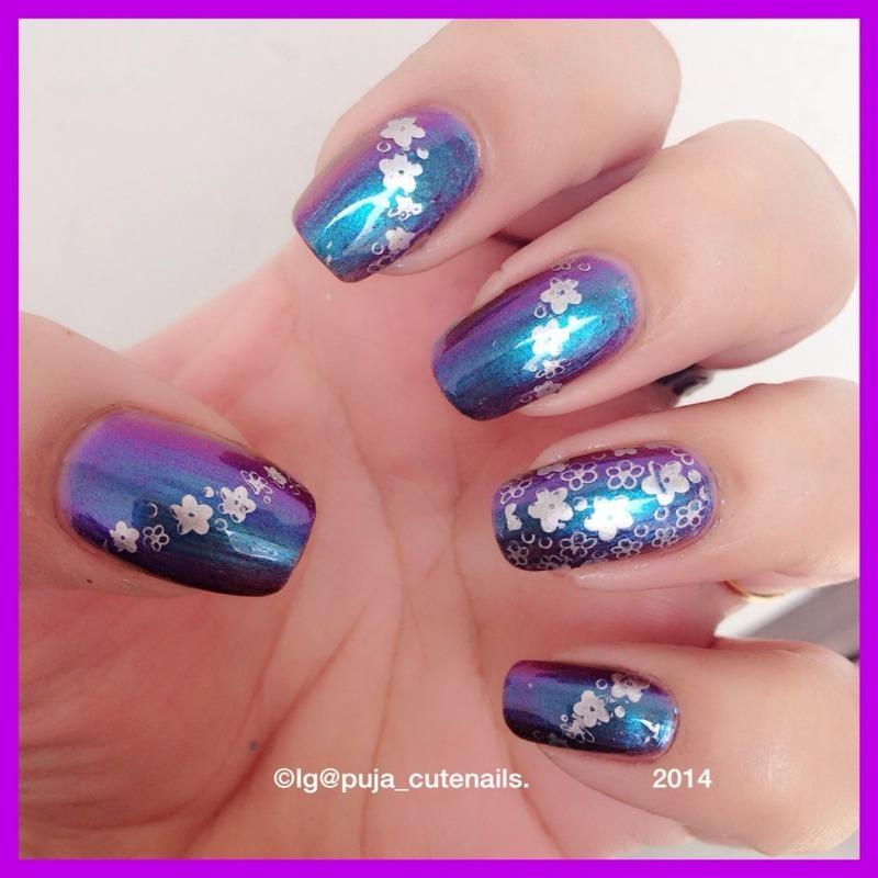 Floral nail art  nail art by Puja Malhotra