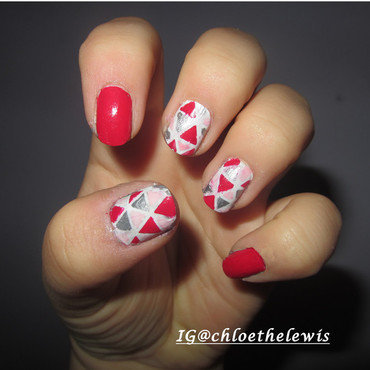 Pink and silver triangle pattern nail art by Chloe Lewis