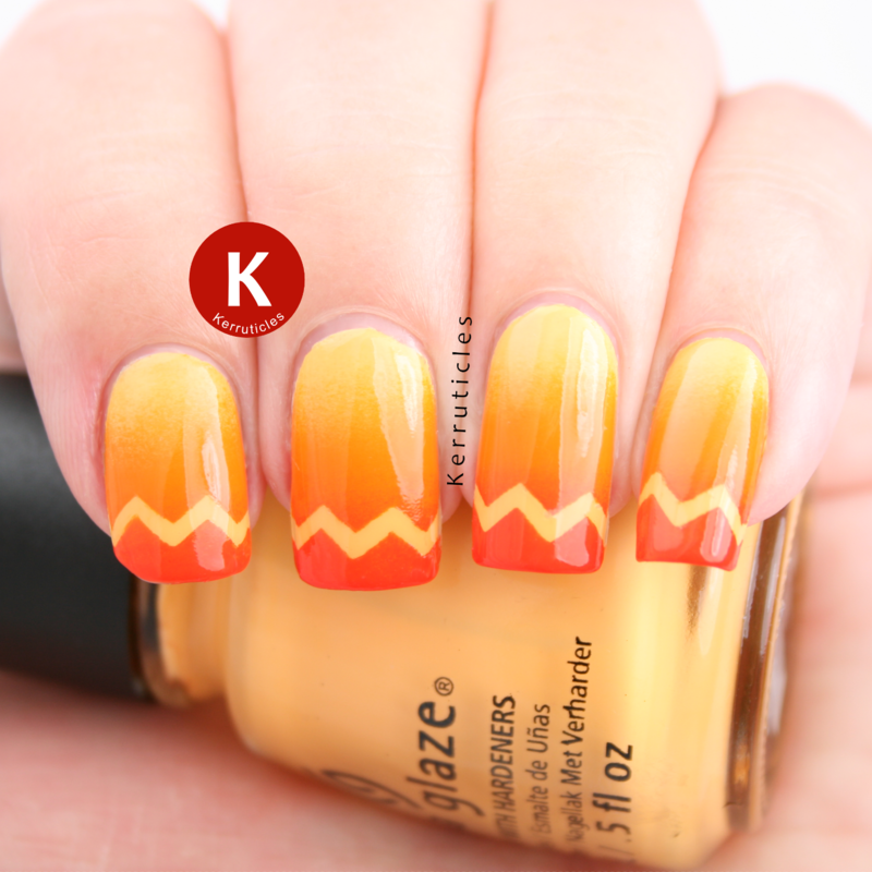 Orange gradient with zigzag tips nail art by Claire Kerr