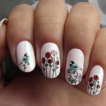 Roses and birds nail art by Sky Blue Velvet Nails