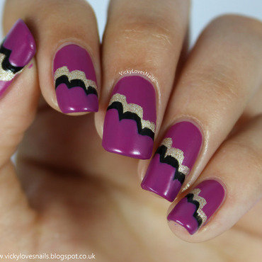 Purple, Black and Gold 'Cloud' Nail Art nail art by Vicky Standage