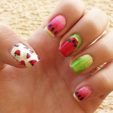 Watermelon Type of Summer nail art by Ana Quinones