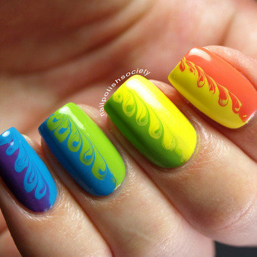 Rainbow Swirl Nails nail art by Emiline Harris