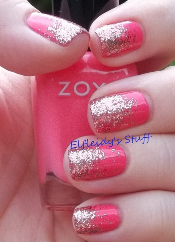 Rose gold glitter gradient nail art by Jenette Maitland-Tomblin