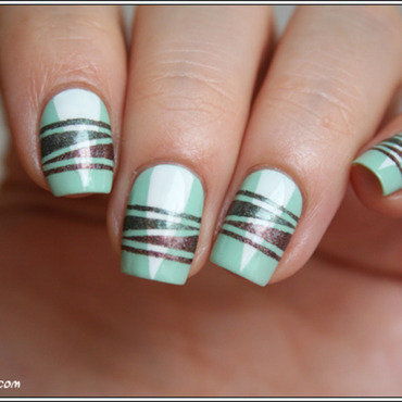 Complètement (striping) tapée nail art by Mary Monkett