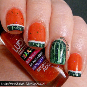 Watermelon Crackle nail art by Anutka
