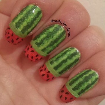 watermelon mani nail art by Danielle  Hails