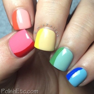 Sideways French Manicure - Rainbow nails! nail art by Amy McG