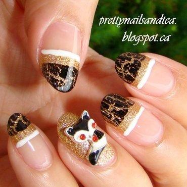 Funky French fox nail art by PrettyNailsAndTea