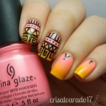 Tribal and gradient nail art by Cristina Alvarado