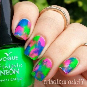 Neon dry marble nail art by Cristina Alvarado