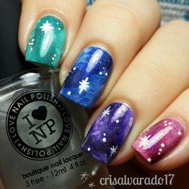 Holo galaxy nails nail art by Cristina Alvarado