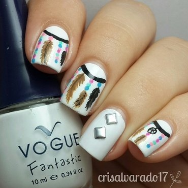 Feathers in a dreamcatcher nail art by Cristina Alvarado