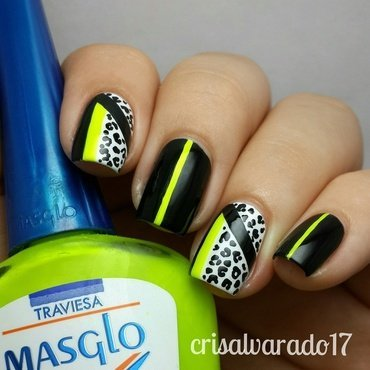 Neon and leopard print nail art by Cristina Alvarado