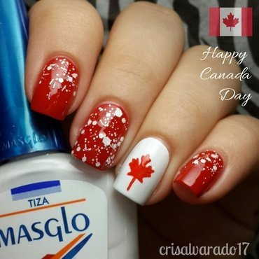 Canada Day nail art by Cristina Alvarado