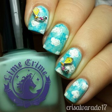 Kites in the sky nail art by Cristina Alvarado