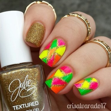 Neon color block nail art by Cristina Alvarado